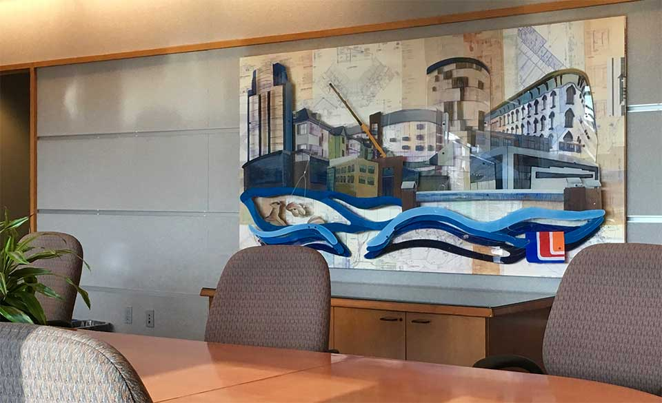 Cityscape commissioned art at Wolverine Building Group headquarters