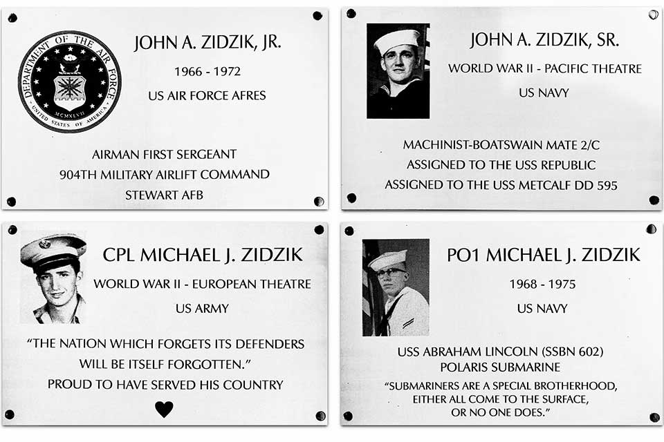 Examples of plaques to help honor veterans
