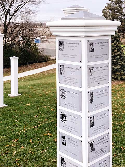 Finished posts with plaques
