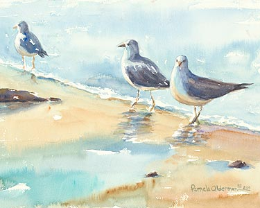 Gulls on the Shore - watercolor painting