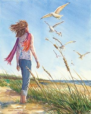 Rising on the Wind - watercolor painting
